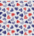 doodle ballpoint pen drawing hearts seamless vector image vector image