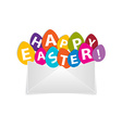 eggs with happy easter message out envelope vector image vector image