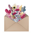envelope with autumn bouquet inside hello autumn vector image vector image