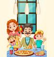 family having pizza for dinner vector image