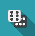 flat design dice icon with long shadow vector image