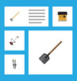 flat icon dacha set of pump stabling shovel and vector image vector image