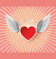 flying hearts with wings vector image