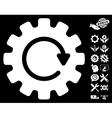 Gearwheel Rotation Icon With Tools Bonus vector image vector image