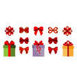 gift boxes bows set icon flat vector image