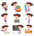 girl doing various activities vector image