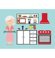 grandmother cooking vector image