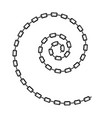 grey chain spiral isolated on white background vector image vector image