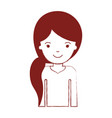 half body woman with pigtail hairstyle in dark red vector image vector image