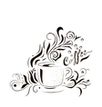 Hand Drawn Coffee Cup with Floral Design Sketch vector image