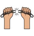 hands human with chain break vector image