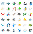 hanger for plane icons set isometric style vector image vector image