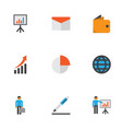 job icons flat style set with whiteboard wallet vector image