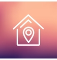 Location of the house thin line icon vector image vector image