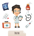 medical set with a female doctor vector image vector image
