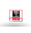 nh n h logo letters with red and black colors vector image vector image