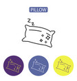 pillow line icons vector image vector image
