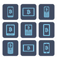 set of icons - mobile devices with bitcoin vector image vector image