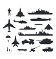 Set of Military Armament Silhouettes vector image vector image