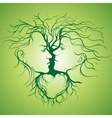 Silhouette of kissing couple shaped by tree vector image vector image