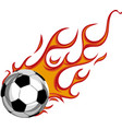 soccer ball on fire on white vector image