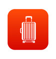 suitcase on wheels icon digital red vector image vector image