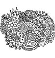 surreal doodle mandala for coloring book for vector image vector image