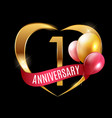 template gold logo 1 years anniversary with ribbon vector image