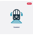 two color tramway icon from transportation vector image vector image