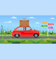 vintage car on city background vector image