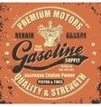 Vintage gasoline retro label vector image