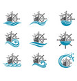 yacht helm wheel set vector image vector image