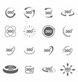 360 degree view related icon set signs and arrows vector image
