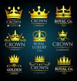 luxury crown vintage monogram logos set vector image