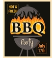 BBQ party with barbecues and fire vector image vector image