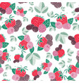 berries and leaves seamless pattern vector image vector image