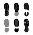 black footprint shoes and sneakers collection vector image