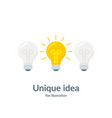 bright idea concept with light bulb unique idea vector image vector image