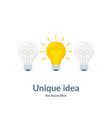 bright idea concept with light bulb unique idea vector image vector image