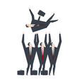 businessmen throw up boss office managers vector image vector image