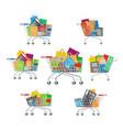 carts set seven full cartoon shopping trolleys vector image vector image