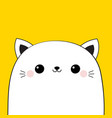 cat head face icon cute cartoon kawaii funny vector image vector image