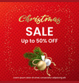 christmas sale web banner on a red knitted vector image