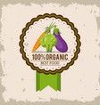 colorful logo of organic best food with carrot vector image