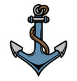 colorful ship anchor with rope vector image vector image