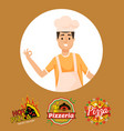cooking man italian chef with pizza and logo vector image