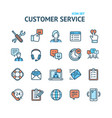customer service signs color thin line icon set vector image vector image