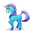 Cute cartoon blue unicorn with purple hair vector image