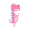 cute funny pink dinosaur standing prehistoric vector image vector image