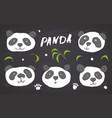 cute panda bear doodles set cute animals sketch vector image vector image